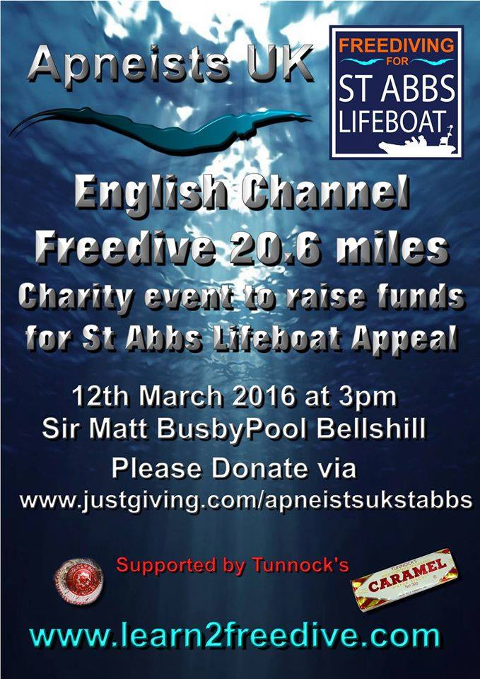 Apneists UK Freedive Club Swim British Channel Length for St Abbs Lifeboat