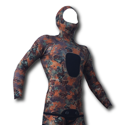 hi heat copperback brown camo spearfishing wetsuit