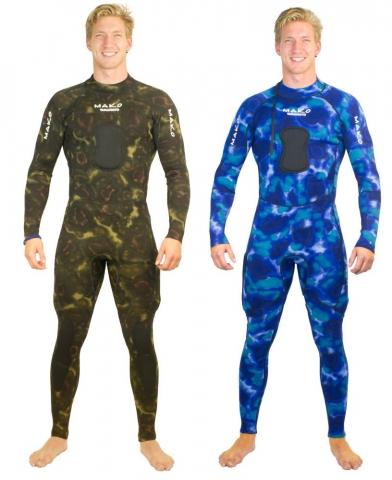mako reversible blue brown camo spearfishing wetsuit